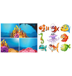 sea animals and four scenes underwater vector image