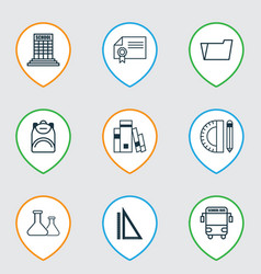 Set of 9 school icons includes haversack diploma vector