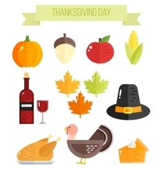 Set of colorful flat thanksgiving elements vector image vector image