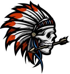 skull of an indian warrior vector image