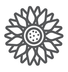 Sun flower line icon farming and agriculture vector