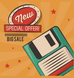Vintage technology floppy big sale card vector