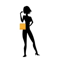 woman holding shopping bag silhouette vector image vector image