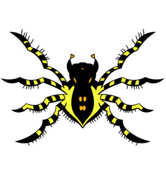 Yellow striped spider vector