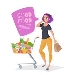 Young woman talking on the phone in a supermarket vector