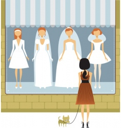 wedding dress store vector image