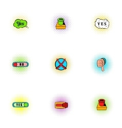 Yes no choice icons set pop-art style vector