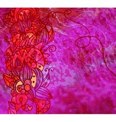 Textile grunge banner with floral design vector image