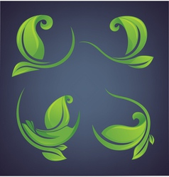Green leaves forms and frames vector