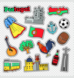 Travel to portugal stickers badges and patches vector