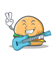 Burger character fast food with guitar vector
