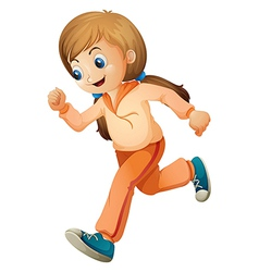 A girl jogging with her orange outfit vector