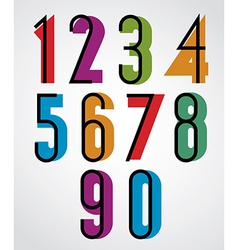 Retro numbers bold condensed numerals set vector