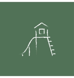 Playhouse with slide icon drawn in chalk vector