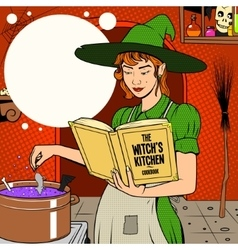Witch preparing a potion vector