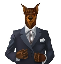 Man with doberman head vector