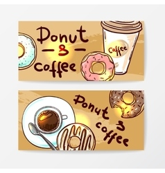 Donut doodle style vector