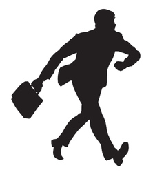 Businessman walks black silhouette figure vector