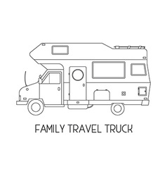 Camping trailer family traveler truck outline icon vector