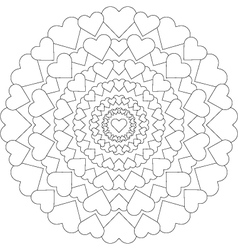 Adult coloring book loving mandala hearts black vector
