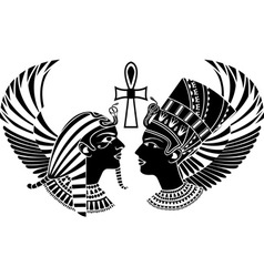 ancient egypt king and qeen with wings vector image vector image