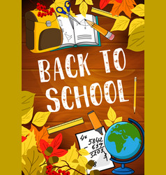 Back to school lesson stationery poster vector
