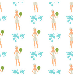 Bath people body washing face seamless pattern vector