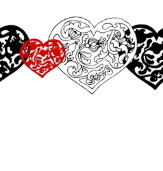 Black and white ornamental hearts border pattern vector