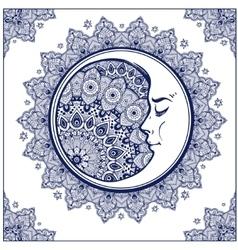 Bohemian ornate crescent moon vector