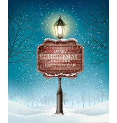 christmas evening winter landscape with lampposts vector image vector image