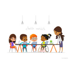 disabled girl in wheelchair and other children vector image