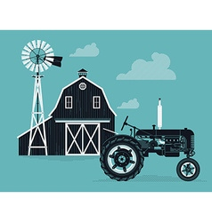 Farm barn with a tractor vector