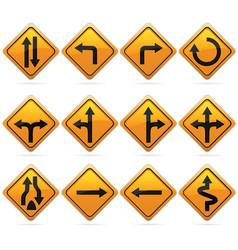 Glossy diamond road arrow sign vector