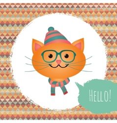 Hipster cat in textured frame design vector