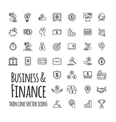 Icons set - business finance startup in outline vector