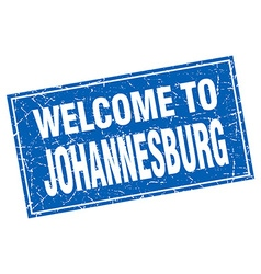Johannesburg blue square grunge welcome to stamp vector