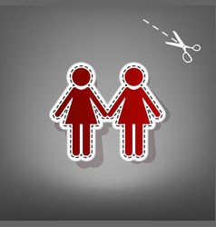 Lesbian family sign red icon with for vector