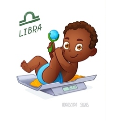 LIBRA zodiac sign Baby Boy lies on the scales and vector image vector image