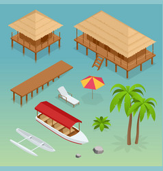 Luxury overwater thatched roof bungalow bridge vector