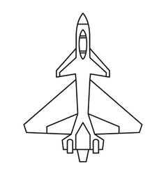 Military fighter jet icon outline style vector image vector image