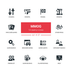 Mmog - modern line design icons set vector