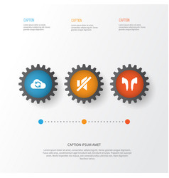 Multimedia icons set collection of cloud mute vector