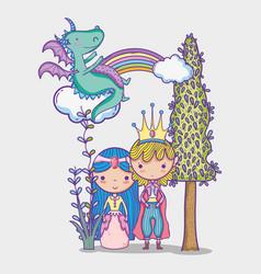 Princess and princess cute hand drawing cartoon vector