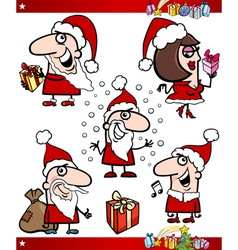 Santa and christmas themes cartoon set vector