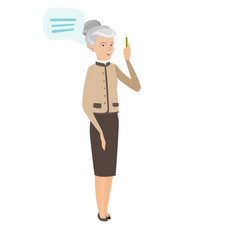 Senior caucasian business woman with speech bubble vector