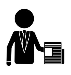 Silhouette business man document work office vector