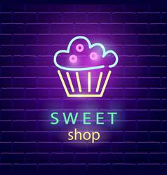 Sweet shop neon logo sign on dark brick wall vector