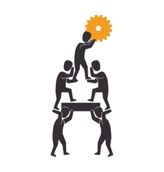Teamwork with gear setting isolated icon vector