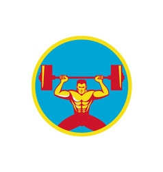 Weightlifter lifting weights front circle retro vector