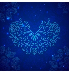 1 Blue Valentines heart vector image